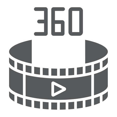 360 video glyph icon, rotation and view, panoramic video sign, vector graphics, a solid pattern on a white background.