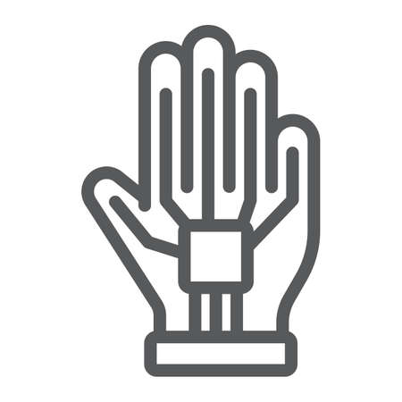VR glove line icon, virtual and technology, wired gloves sign, vector graphics, a linear pattern on a white background. 向量圖像