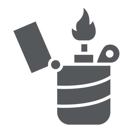Icône de glyphe plus léger, feu et brûlure, signe de flamme, graphiques vectoriels, un motif solide sur fond blanc. Vecteurs