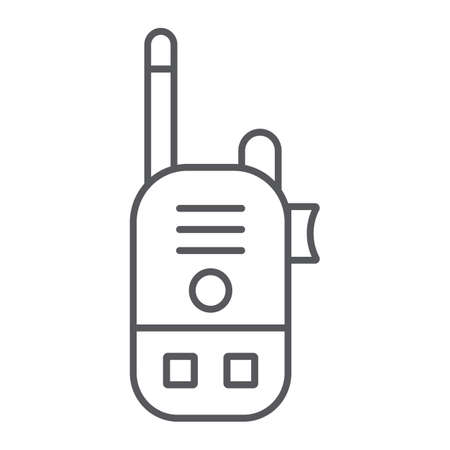 Walkie talkie thin line icon, communication and transmitter, radio set sign, vector graphics, a linear pattern on a white background.