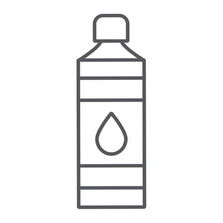 Bottle thin line icon, plastic and water, container sign, vector graphics, a linear pattern on a white background.