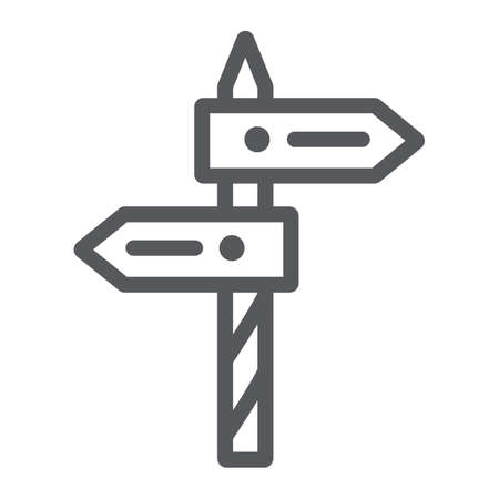 Direction line icon, way and guidepost, signpost sign, vector graphics, a linear pattern on a white background. Çizim