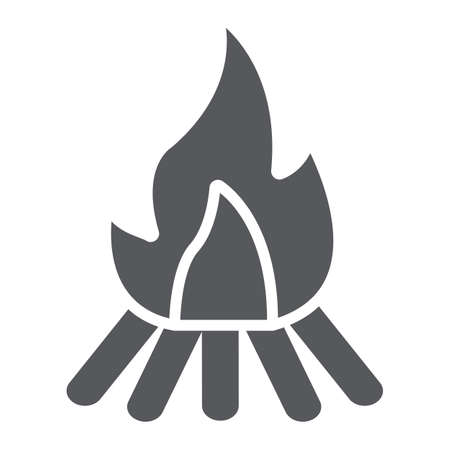 Campfire glyph icon, fire and burn, bonfire sign, vector graphics, a solid pattern on a white background.
