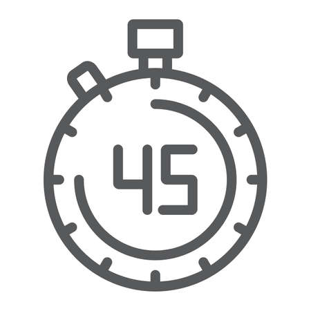 Stopwatch line icon, countdown and time, timer sign, vector graphics, a linear pattern on a white background. Vettoriali