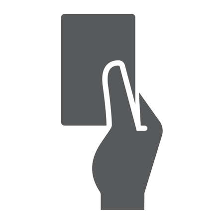 Referee card glyph icon, sport and soccer, red card sign, vector graphics, a solid pattern on a white background.