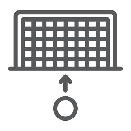 Soccer gate line icon, sport and football, penalty sign, vector graphics, a linear pattern on a white background.