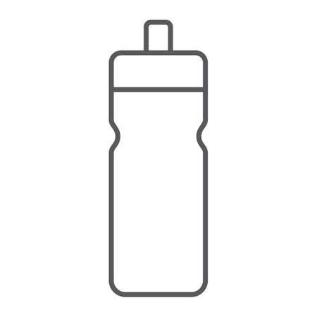 Sport bottle thin line icon, drink and container, water bottle sign, vector graphics, a linear pattern on a white background.