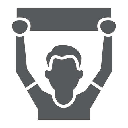 Soccer fan glyph icon, sport and person, football fan sign, vector graphics, a solid pattern on a white background.