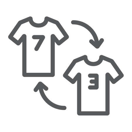 Player substitution line icon, game and sport, tshirt with arrows sign, vector graphics, a linear pattern on a white background. Иллюстрация