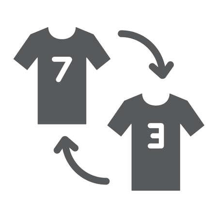 Icono de glifo de sustitución de jugador, juego y deporte, camiseta con signo de flechas, gráficos vectoriales, un patrón sólido sobre un fondo blanco. Ilustración de vector