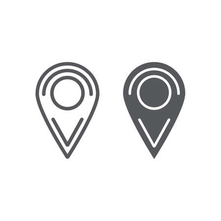 Location line and glyph icon, pin and navigation, map marker sign, vector graphics, a linear pattern on a white background.
