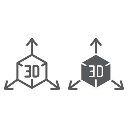 3d object and glyph icon, cube and rotation, 3d modeling sign, vector graphics, a linear pattern on a white background. Векторная Иллюстрация