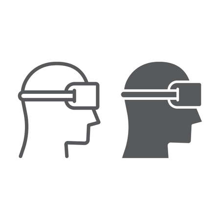 VR device line and glyph icon, gaming and virtual, vr headset sign, vector graphics, a linear pattern on a white background.