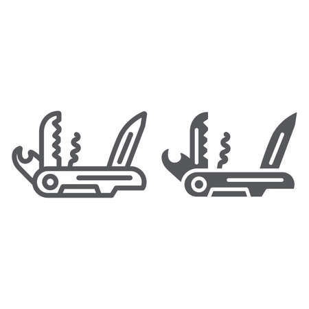 Multi tool line and glyph icon, camping and multifunction, pocket knife sign, vector graphics, a linear pattern on a white background.