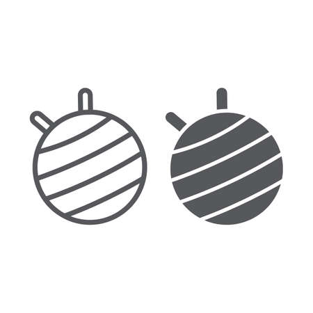 Fit ball line and glyph icon, fitness and equipment, pilates ball sign, vector graphics, a linear pattern on a white background.
