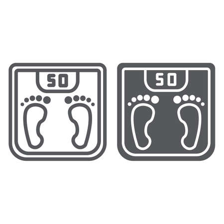 Body weight line and glyph icon, measurement and kilogram, scale sign, vector graphics, a linear pattern on a white background.  イラスト・ベクター素材