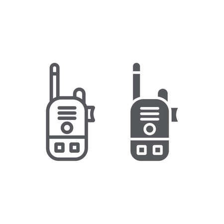 Walkie talkie line and glyph icon, communication and transmitter, radio set sign, vector graphics, a linear pattern on a white background.