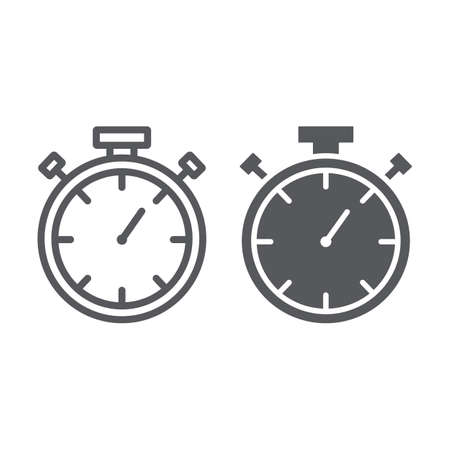 Stopwatch line and glyph icon, measure and countdown, timer sign, vector graphics, a linear pattern on a white background.