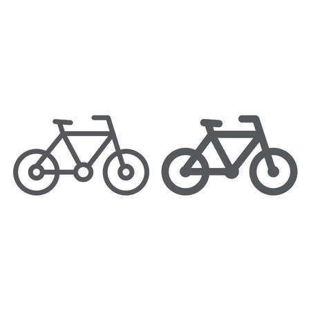 Bike line and glyph icon, sport and transport, bicycle sign, vector graphics, a linear pattern on a white background.