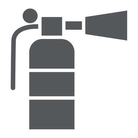 Fire extinguisher glyph icon, emergency and firefighting, extinguish sign, vector graphics, a solid pattern on a white background.