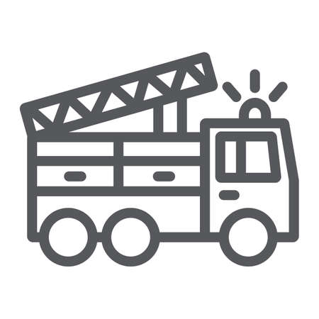 Icono de línea de camión de bomberos, transporte y emergencia, signo de coche de bombero, gráficos vectoriales, un patrón lineal sobre un fondo blanco. Ilustración de vector