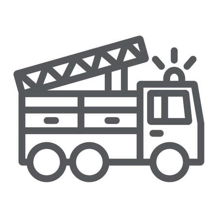 Ikona linii wóz strażacki, transport i pogotowie, znak samochodu strażaka, grafika wektorowa, liniowy wzór na białym tle. Ilustracje wektorowe