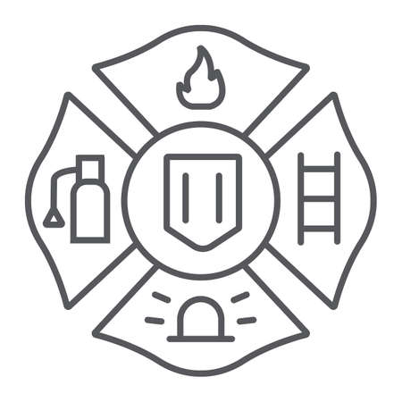Fire emblem thin line icon, symbol and firefighter, fire badge sign, vector graphics, a linear pattern on a white background. 矢量图像