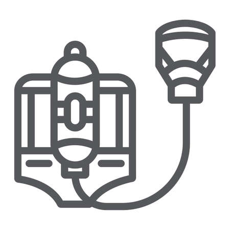 Fire respirator line icon, fireman and equipment, fire mask sign, vector graphics, a linear pattern on a white background.