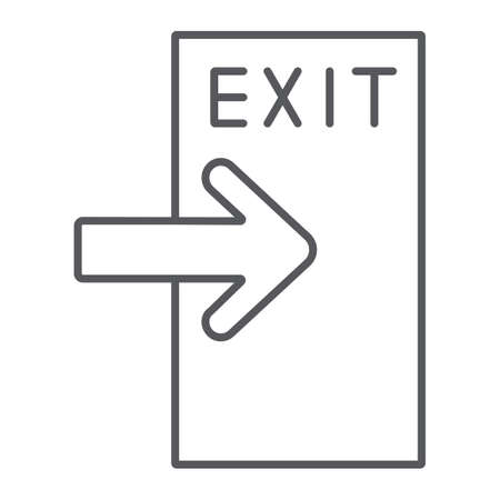 Exit thin line icon, evacuate and emergency, output sign, vector graphics, a linear pattern on a white background.
