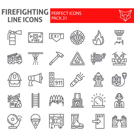 Firefighter line icon set, fireman symbols collection, vector sketches, illustrations, fire safety signs linear pictograms package isolated on white background. Vecteurs
