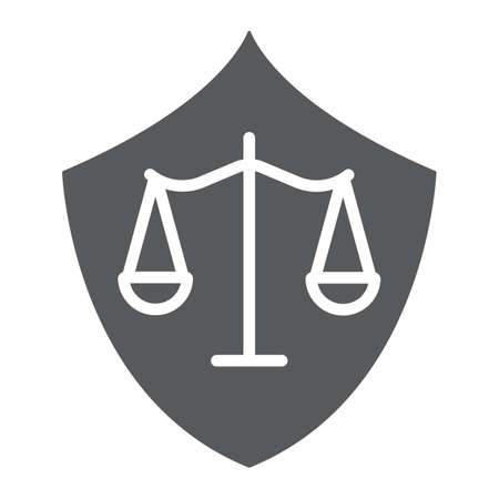 Defense glyph icon, law and justice, shield sign, vector graphics, a solid pattern on a white background.
