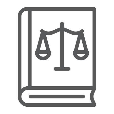 Wet boek lijn pictogram, Justitie en recht, boek met weegschaal teken, vector graphics, een lineair patroon op een witte achtergrond.