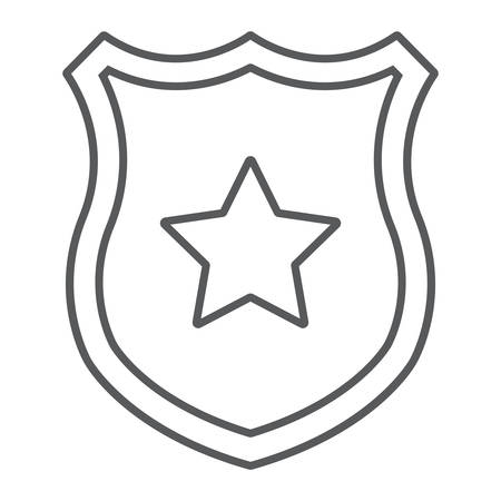 Police badge thin line icon, officer and law, shield with star sign, vector graphics, a linear pattern on a white background.