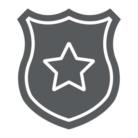Police badge glyph icon, officer and law, shield with star sign, vector graphics, a solid pattern on a white background. Illustration