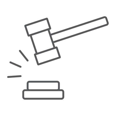 Judge hammer thin line icon, judgment and law, auction hammer sign, vector graphics, a linear pattern on a white background. Illustration