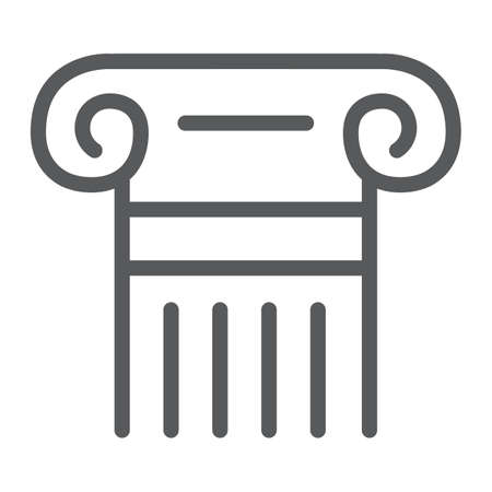 Greek column line icon, pillar and antique, legality sign, vector graphics, a linear pattern on a white background. Illustration