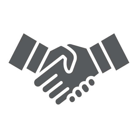 Handshake glyph icon, shake and agreement, diplomacy sign, vector graphics, a solid pattern on a white background. Ilustracja