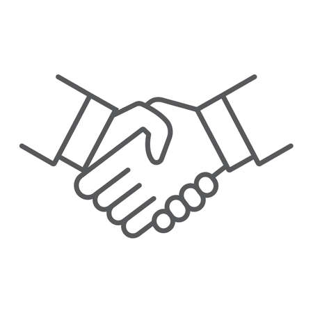 Handshake thin line icon, shake and agreement, diplomacy sign, vector graphics, a linear pattern on a white background.