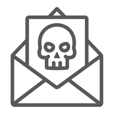 Crime letter line icon, scary and note, mail sign, vector graphics, a linear pattern on a white background.