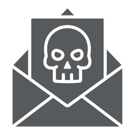 Crime letter glyph icon, scary and note, mail sign, vector graphics, a solid pattern on a white background. Illustration