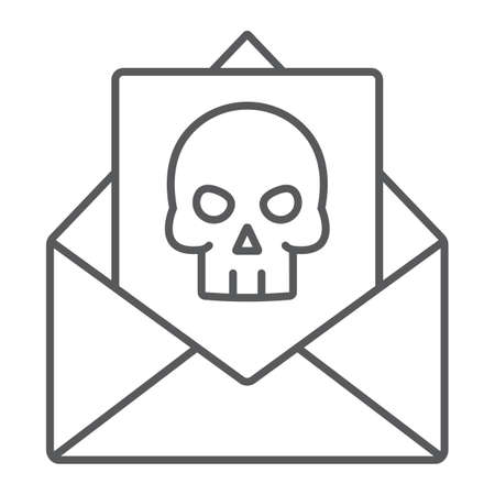 Crime letter thin line icon, scary and note, mail sign, vector graphics, a linear pattern on a white background. Illustration