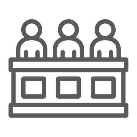 Icône de ligne de jury, tribunal et droit, signe du tribunal, graphiques vectoriels, un dessin linéaire sur un fond blanc.