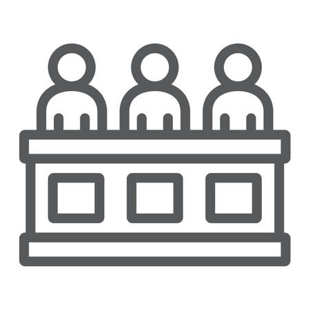 Jury line icon, court and law, tribunal sign, vector graphics, a linear pattern on a white background.