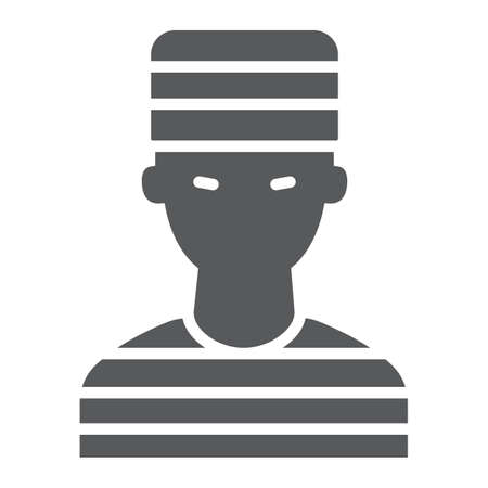 Prisoner glyph icon, crime and law, criminal sign, vector graphics, a solid pattern on a white background.