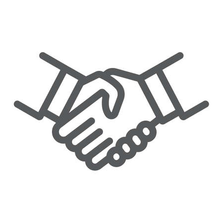 Handshake-Liniensymbol, Shake und Vereinbarung, Diplomatiezeichen, Vektorgrafiken, ein lineares Muster auf weißem Hintergrund.