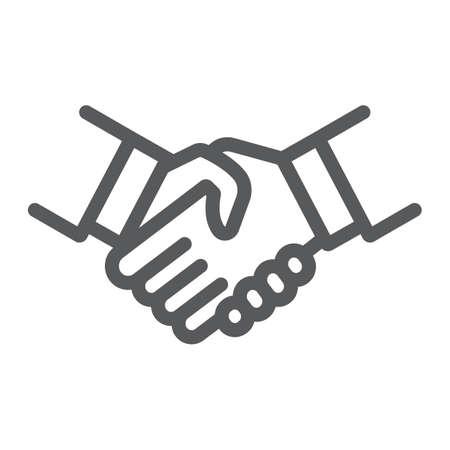 Icono de línea de apretón de manos, agitación y acuerdo, signo de diplomacia, gráficos vectoriales, un patrón lineal sobre un fondo blanco.