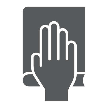 Honestly glyph icon, truth and trust, palm on book sign, vector graphics, a solid pattern on a white background.