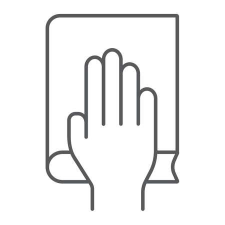 Honestly thin line icon, truth and trust, palm on book sign, vector graphics, a linear pattern on a white background.