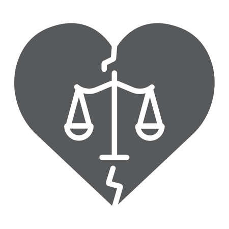 Divorce glyph icon, law and marriage, broken heart sign, vector graphics, a solid pattern on a white background.
