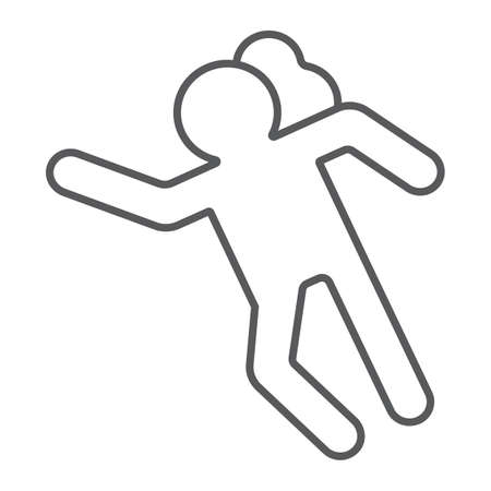 Crime scene thin line icon, accident and murder, victim sign, vector graphics, a linear pattern on a white background. Vector Illustration